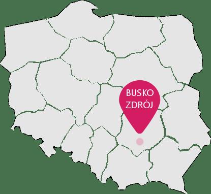 Mapa Polski z oznaczeniem Buska-Zdroju