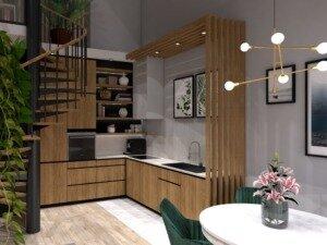 Przykładowa aranżacja salonu z kuchnią
